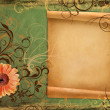 Stock Photo: Frame on vintage green paper