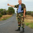 Soldier hitchhiker — Stock Photo