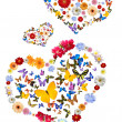 Hearts with flowers and butterflies — Stock Photo