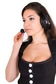 Beautiful businesswoman with headset — Stock Photo