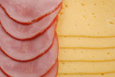 Ham, cheese and bread — Stock Photo