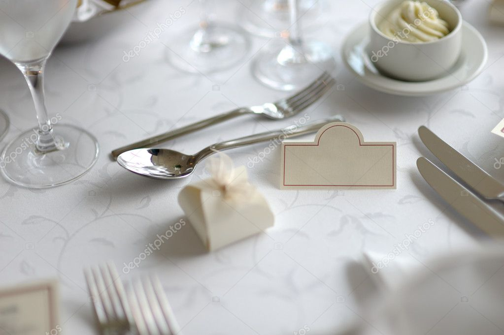 Empty place card on the white festive table  Stock Photo #1799223