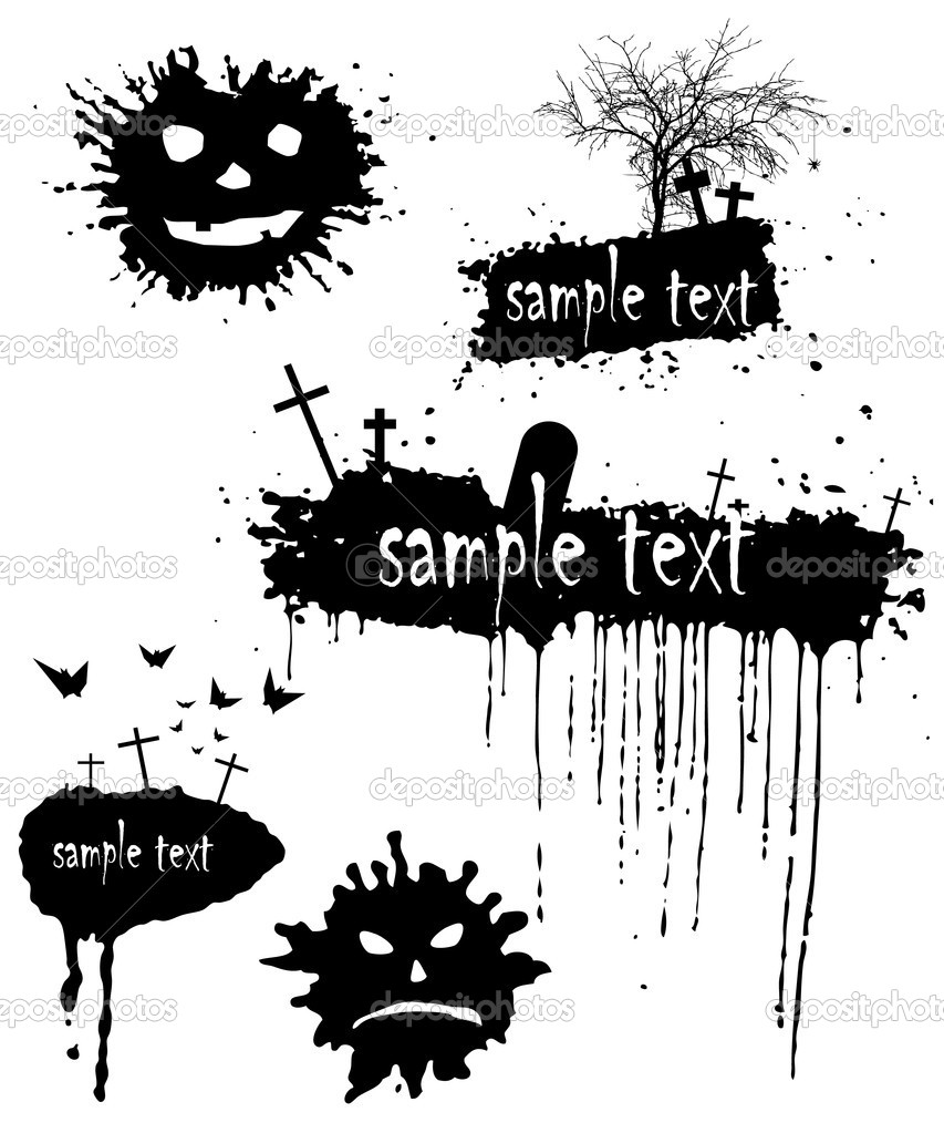 Set of blots for Halloween. Grunge Halloween background — Stock Photo #1381094