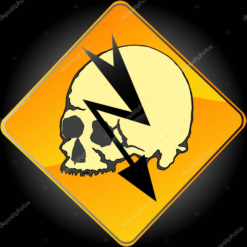 High voltage sign with glossy yellow surface and  skull  Stock Photo #1628370
