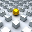 Golden sphere and many steel cubes — Stock Photo