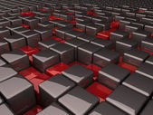 Grey boxes and many red pits — Stock Photo