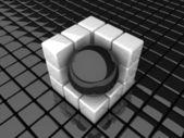 B_sphere_in_cube — Stock Photo
