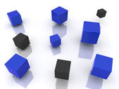 Many abstract blue cubes and black — Stock Photo