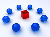 Cube encircled by spheres — Stock Photo