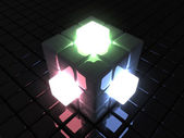 Red Green Blue glowing cube — Stock Photo