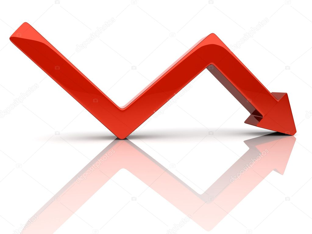 Illustration with red broken falling arrow (fall) — Stock Photo #1212334