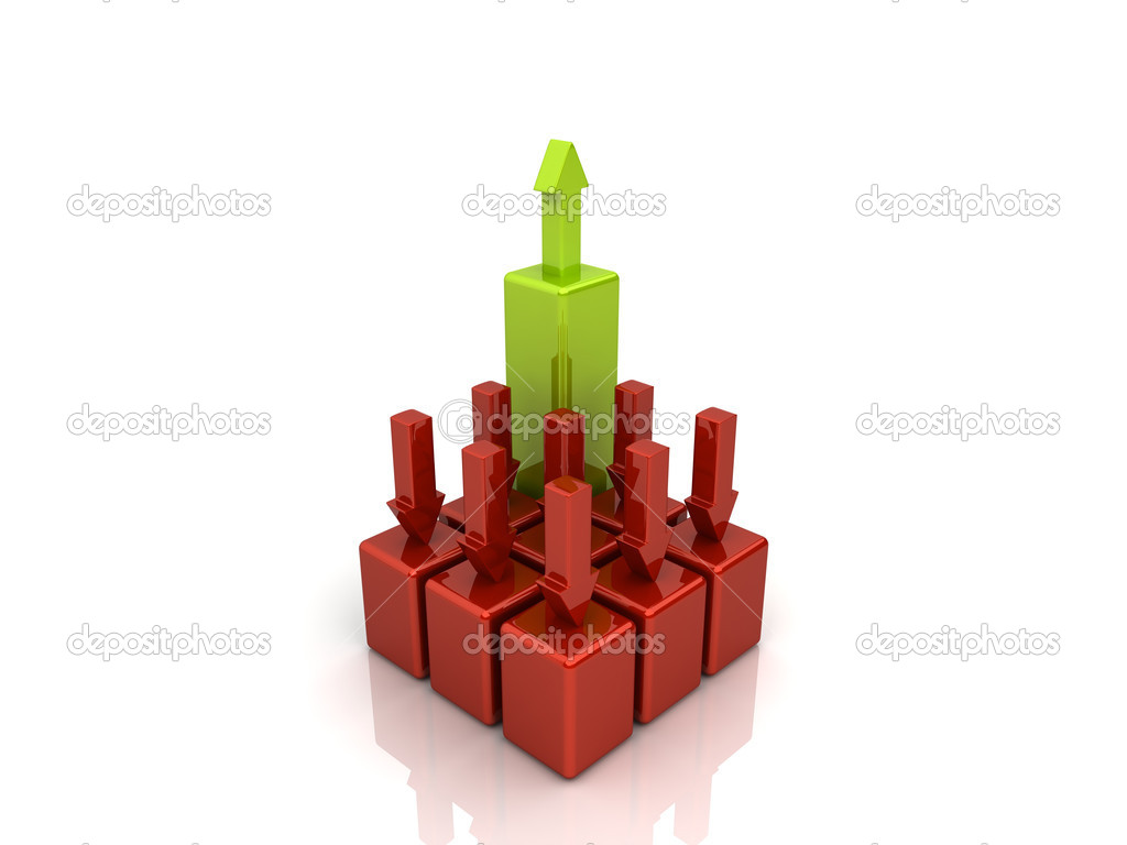Many falling red bars and one green rising bar (leade) — Stock Photo #1213407