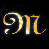 Altın harf m — Stok fotoğraf