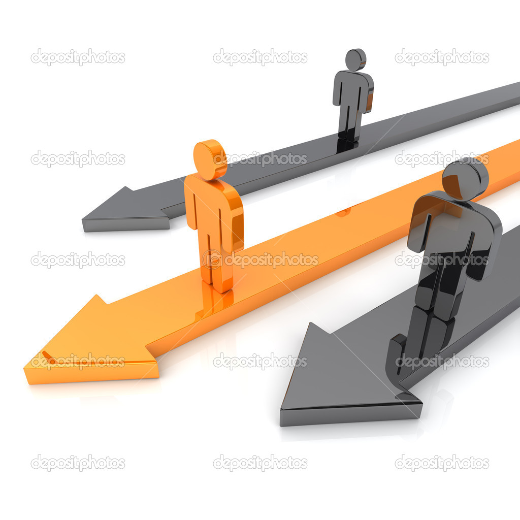 Illustration of competition with business guys and arrows — Stock Photo #2531314