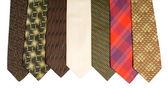 Photo of seven neckties isolated over white — Stock Photo