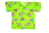 Baby's green t-shirt with funny prints isolated over white — Stock Photo