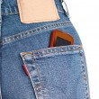Stock Photo: Phone in jeans pocket