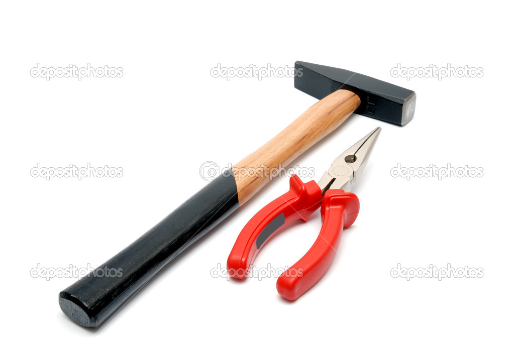Hammer with wooden handle and flat-nose pliers with red handles isolated over white background — Stock Photo #1207620