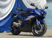 Dark blue sports motorcycle. — Stock Photo