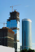Construction of skyscrapers — Stock Photo