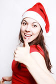 Portrait of the girl in a christmas cap — Stock Photo