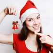 Girl in a christmas cap — Stock Photo #1247481