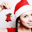 Girl in a christmas cap — Stock Photo #1247530