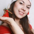 Girl in a christmas cap — Stock Photo #1247584