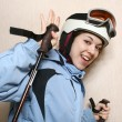 The cheerful mountain skier. — Stock Photo