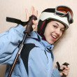Stock Photo: The cheerful mountain skier.