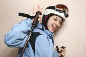 The cheerful mountain skier. — Stock Photo