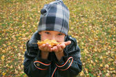 Portrait of the boy with autumn leaves i — Stock Photo
