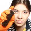 Portrait of the cleaner in rubber gloves — Stock Photo #1569469