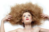 Girl with shock hair-do — Stock Photo