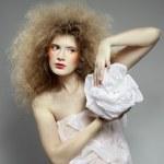 Girl with shock hair-do — Stock Photo