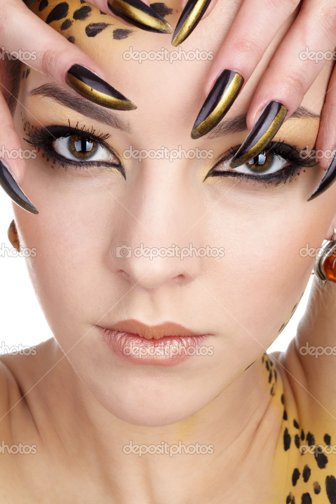 Close-up portrait of beautiful young european model in cat make-up and bodyart — Stock Photo #1206045
