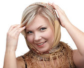 Blonde girl in kerchief — Stock Photo