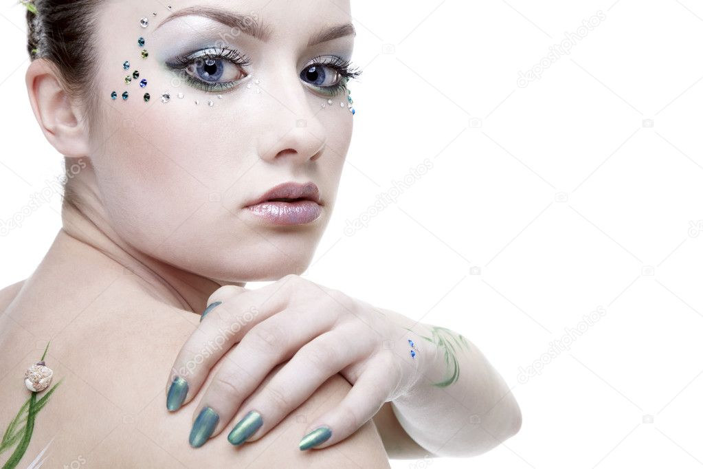 Portrait of beautiful girl with mermaid bodyart — Stock Photo #1215680