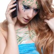 Stock Photo: Beautiful girl with bodyart