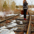 Girl on railroad — Stock Photo #1277218
