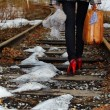 Girl on railroad — Photo