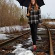 Girl on railroad — Stock Photo #1277244