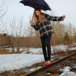 Balancing on rail — Stock Photo #1277256