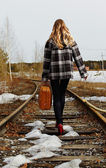 Girl on railroad — Stock Photo