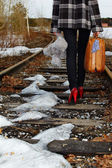 Girl on railroad — Foto Stock