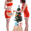 Stockfoto: Decorating Christmas tree