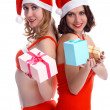 Girls with presents — ストック写真