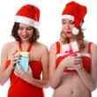 Girls with presents — Stock Photo