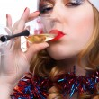Girl whith wine - Stock Photo