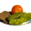 Plate with cucumbers — Stockfoto